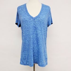 adidas | blue climalite v-neck activewear top sz L